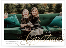This is a white foil stamped holiday card by Jackie Crawford called Merry Christmas Side Script with foil-pressed printing on smooth signature in standard.