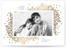 This is a white foil stamped holiday card by Phrosne Ras called berrie corners with foil-pressed printing on smooth signature in standard.