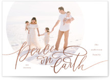 This is a pink foil stamped holiday card by Erin German called Script Peace on Earth with foil-pressed printing on smooth signature in standard.