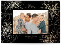 This is a black foil stamped holiday card by Everett Paper Goods called Firecracker Delight with foil-pressed printing on smooth signature in standard.