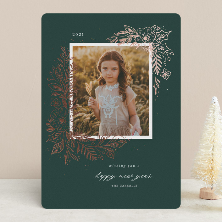 """""""Sketched Holiday Floral"""" - Foil-pressed Holiday Cards in Pine by Paper Raven Co.."""