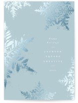 This is a blue foil stamped holiday card by Robert and Stella called Dusted Snowflakes with foil-pressed printing on signature in standard.