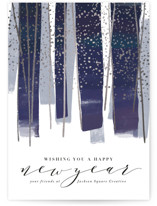 This is a blue foil stamped holiday card by Rebecca Durflinger called gilded new year streamers with foil-pressed printing on signature in standard.