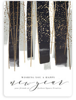 This is a black foil stamped holiday card by Rebecca Durflinger called gilded new year streamers with foil-pressed printing on signature in standard.
