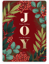 This is a red foil stamped holiday card by Yaling Hou Suzuki called Holiday Floral Field with foil-pressed printing on signature in standard.