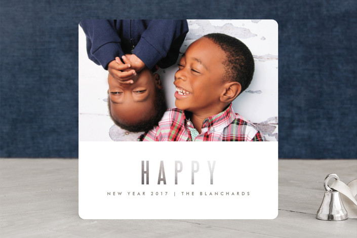 """""""We're Happy"""" - Modern, Minimalist Foil-pressed Holiday Cards in White by Kate Grono."""