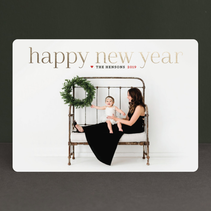"""Timeless Greeting"" - Full-Bleed Photo, Minimalist Foil-pressed Holiday Cards in Gold by Alston Wise."