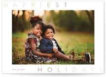 This is a white foil stamped holiday card by chocomocacino called cinnamon with foil-pressed printing on smooth signature in standard.