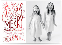 This is a red foil stamped holiday card by Nicole Barreto called Hand-lettered Wish with foil-pressed printing on smooth signature in standard.