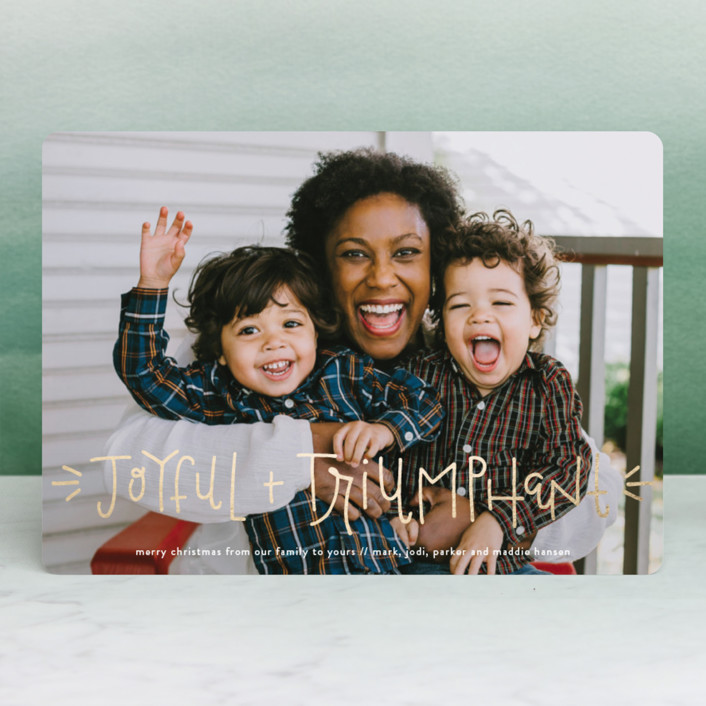 """""""Joyful + Triumphant!"""" - Modern Foil-pressed Holiday Cards in Holly Berry by Olivia Goree."""