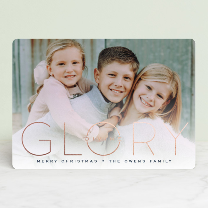"""""""Glory Divine"""" - Foil-pressed Holiday Cards in Plum by GeekInk Design."""