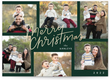 This is a green foil stamped holiday card by Laura Hankins called Cozy Collage with foil-pressed printing on smooth signature in standard.