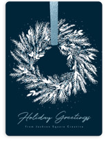This is a blue foil stamped holiday card by Kacey Kendrick Wagner called Holiday Wreath with foil-pressed printing on signature in standard.