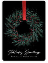 This is a black foil stamped holiday card by Kacey Kendrick Wagner called Holiday Wreath with foil-pressed printing on signature in standard.