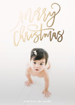 merry christmas swirls Foil-Pressed Holiday Cards By Phrosne Ras