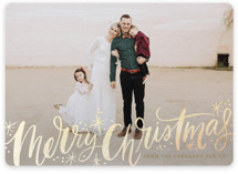 This is a brown foil stamped holiday card by Alethea and Ruth called Merry Christmas Sparkle Snow with foil-pressed printing on smooth signature in standard.