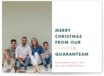 This is a green foil stamped holiday card by Toast & Laurel called The Quaranteam with foil-pressed printing on smooth signature in standard.
