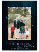 This is a blue foil stamped holiday card by Phrosne Ras called starry wonder with foil-pressed printing on smooth signature in standard.