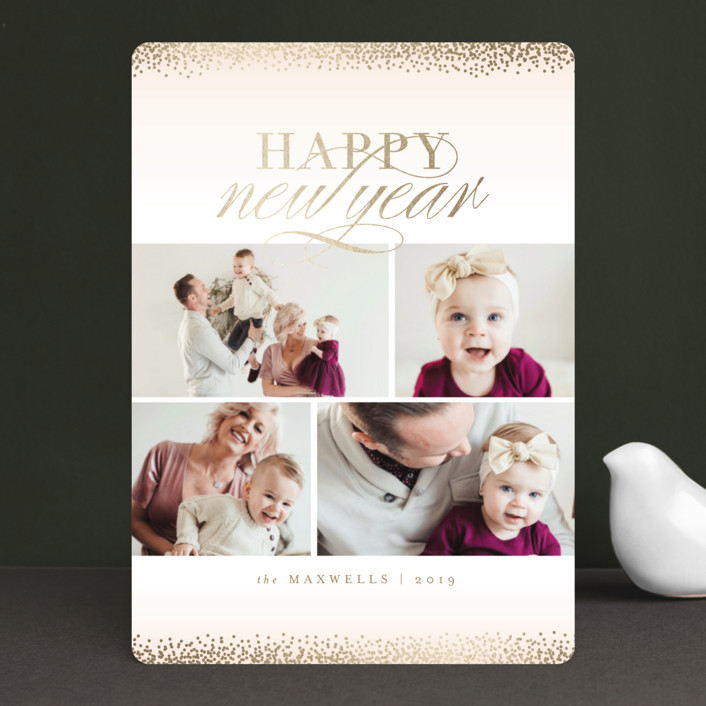 """Jubilation"" - Foil-pressed Holiday Cards in Blush by Kristie Kern."