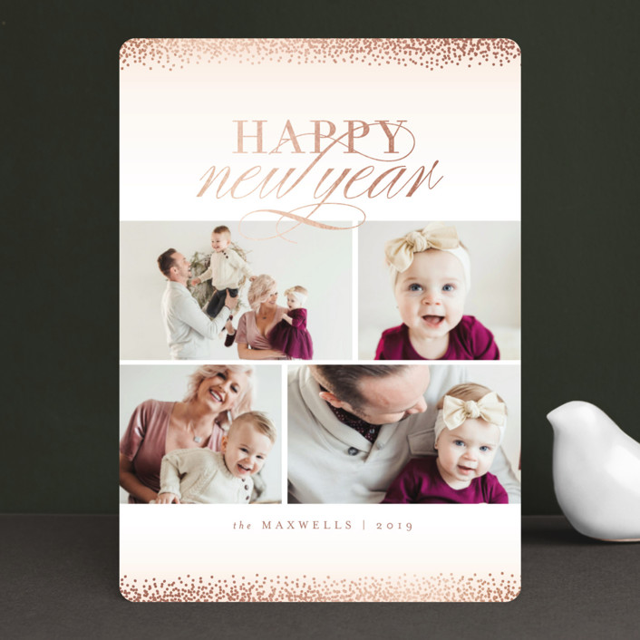 """""""Jubilation"""" - Foil-pressed Holiday Cards in Blush by Kristie Kern."""