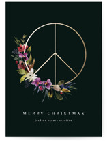 This is a green foil stamped holiday card by Lori Wemple called peace botanical with foil-pressed printing on signature in standard.