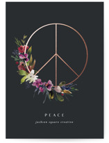This is a grey foil stamped holiday card by Lori Wemple called peace botanical with foil-pressed printing on signature in standard.