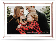This is a pink foil stamped holiday card by Annie Shapiro called Framed Photo with foil-pressed printing on smooth signature in standard.