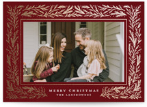 This is a red foil stamped holiday card by Meagan Christensen called Winter Fest with foil-pressed printing on smooth signature in standard.