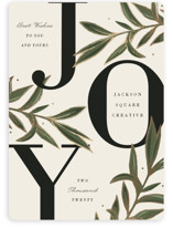 This is a beige foil stamped holiday card by Oma N. Ramkhelawan called Abundant Joy with foil-pressed printing on signature in standard.