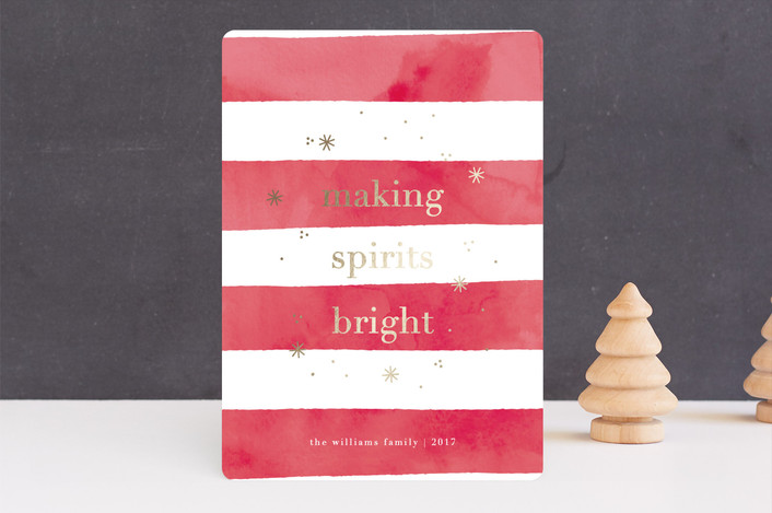 """""""Bright Stripe"""" - Foil-pressed Holiday Cards in Cranberry by Bethan."""