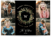 This is a black foil stamped holiday card by Susan Moyal called Classic Monogram with foil-pressed printing on smooth signature in standard.