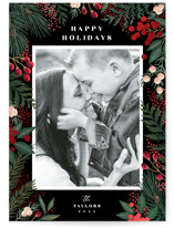 This is a black foil stamped holiday card by Alethea and Ruth called Cranberry Garden with foil-pressed printing on smooth signature in standard.