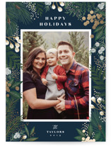 This is a blue foil stamped holiday card by Alethea and Ruth called Cranberry Garden with foil-pressed printing on smooth signature in standard.