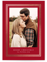 This is a red foil stamped holiday card by Stacey Meacham called Ever classic with foil-pressed printing on smooth signature in standard.