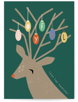 This is a green foil stamped holiday card by Angela Thompson called Festive Deer with foil-pressed printing on signature in standard.