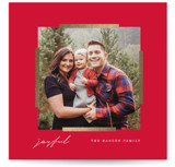 This is a red foil stamped holiday card by Baumbirdy called Modern Mark with foil-pressed printing on smooth signature in standard.
