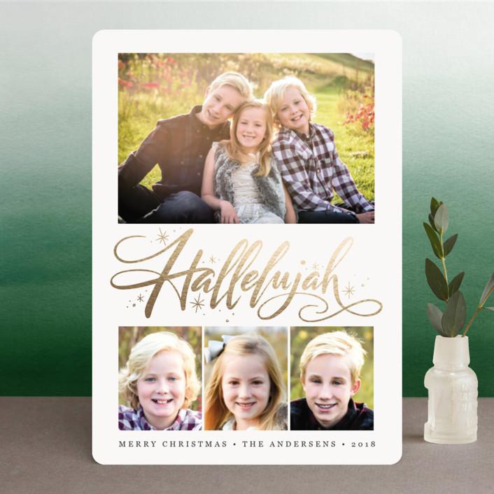 """Hallelujah Burst"" - Foil-pressed Holiday Cards in Onyx by Jamie Schultz Designs."