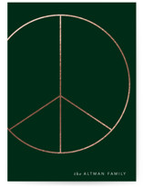 This is a green foil stamped holiday card by Baumbirdy called Big Peace with foil-pressed printing on pearlescent in standard.