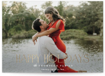 This is a white foil stamped holiday card by Robert and Stella called Sutton with foil-pressed printing on smooth signature in standard.