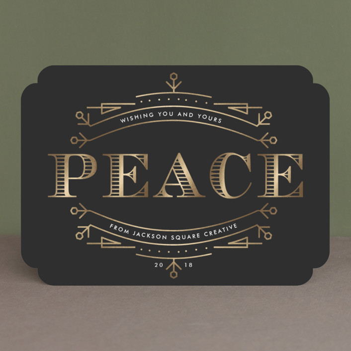 """""""Engraved Peace"""" - Vintage Foil-pressed Holiday Cards in Charcoal by Oma N. Ramkhelawan."""