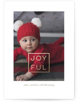 This is a red foil stamped holiday card by Susan Brown called Joyful Box with foil-pressed printing on smooth signature in standard.