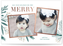 This is a green foil stamped holiday card by Oscar & Emma called Holidays Upon Us with foil-pressed printing on smooth signature in standard.
