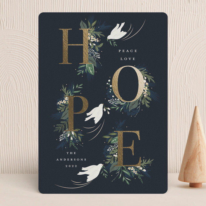 """""""Hope"""" - Foil-pressed Holiday Cards in Winter by Susan Moyal."""