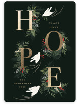 This is a green foil stamped holiday card by Susan Moyal called Hope with foil-pressed printing on signature in standard.
