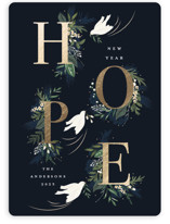 This is a blue foil stamped holiday card by Susan Moyal called Hope with foil-pressed printing on signature in standard.