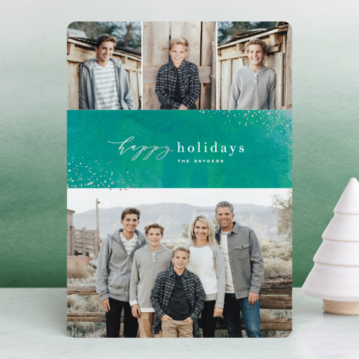 """""""Sparkling Wine"""" - Bohemian Foil-pressed Holiday Cards in Evergreen by Hooray Creative."""