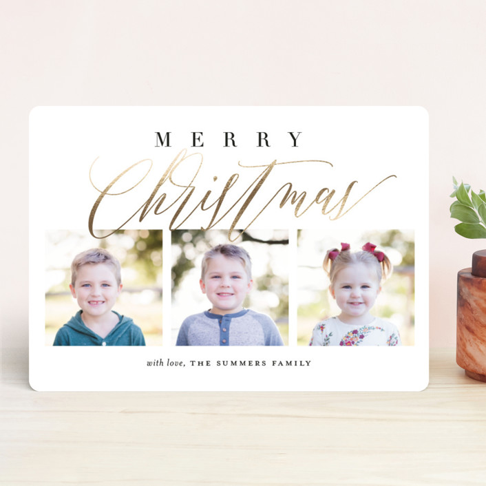 """""""Scripted Trio"""" - Foil-pressed Holiday Cards in Winter Rose by Jessica Williams."""