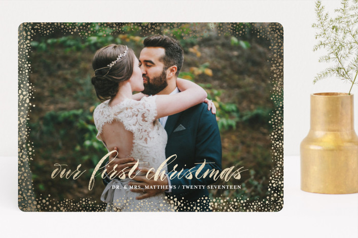 """Couple's First"" - Foil-pressed Holiday Cards in Gold by Kate Ross."