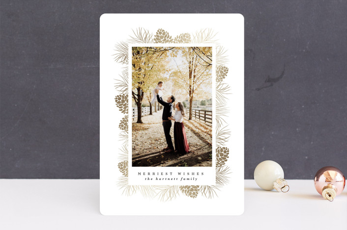 """Gilded Pine Frame"" - Bohemian Foil-pressed Holiday Cards in Gold by Angela Thompson."