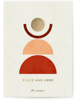 This is a red foil stamped holiday card by Iveta Angelova called Peace and Love with foil-pressed printing on signature in standard.